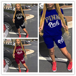 Wholesale t shirt printing girls - 2018 Summer Pink Letter Print Shorts set Tracksuit Short Sleeve T-shirt and Short Pants 2pcs set Outfit Girls Clothes Sportswear sport suit