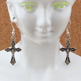 jóias de pesca Desconto Jesus cristo cruz brincos de prata orelha de peixe gancho 24 pares / lote antigo de prata lustre de jóias 17.5x49mm a-267e