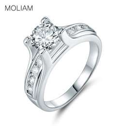 Wholesale bague color - MOLIAM Cubic Zirconia Stone Rings for Women Female Silver Color Wedding Band Engagement Ring Bague Jewelry Drop Shipping MLR168