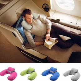 Wholesale car seat neck rest pillow - U Shape Neck Pillow Neck Support Head Rest Car Travel Outdoor Office Plane Hotel Flight Pillow With Pouch Car Styling Pillow CCA9553 30pcs