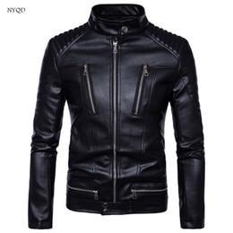 Chaqueta de moto impermeable online-Chaqueta de cuero de alta calidad para chaqueta de la motocicleta Chaqueta de traje de cuero de la cremallera de la locura de Menswear locomotora Calor al aire libre de invierno Impermeable