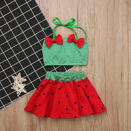 Wholesale children girls green bikini - Baby Girl Bow Striped Bikinis Set 2018 Bathing Suit Dot Swimwear kids clothing Children Beach Wear Tankini Costume