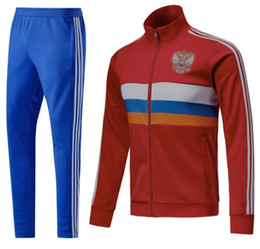 Wholesale Top Branded Men Suits - A+++ FULL ZIP 2018 Top quality Russia Soccer jacket European Cup Training suit football Tracksuits jackets Jogging Pant uniform Brand jacket