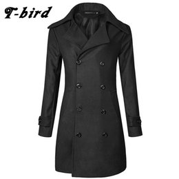 Wholesale Long Sections Trench Coats - T-Bird Trench Caot Men 2017 New Coat Male Sweater Knitting Jacket Men Slim Lapel Long Section Brand Outwear Cotton Jackets