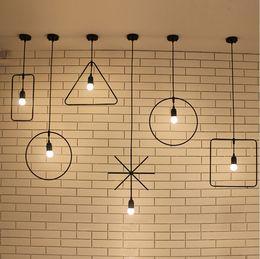 iluminación industrial vintage diy Rebajas Loft geometría luces colgantes de hierro montaje de bricolaje lámpara colgante industrial accesorio de ligting para barra de café iluminación lámparas vintage