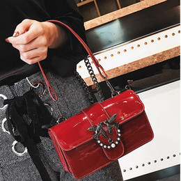 Wholesale Long Handle Purses - Luxury Patent leather women evening bags with long handle and black chain shoulder bags Ladies clutch purse bags party crossbody bag