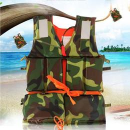Wholesale Life Vests - adult Swimming Life Jacket Vest Foam Boating Ski Fishing Drifting Safety Jackets Camouflage Boating Ski Vest With Whistle KKA4474