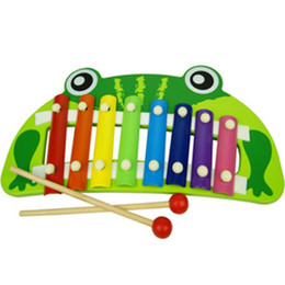 Wholesale musical instruments for children - 8-Note Baby Early Musical Instrument Hand Knock Piano Frog Multicolor Xylophon Develop music Toy For Children Gifts
