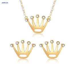Collares de oro de la boda para las mujeres online-JAVRICK 1 Set Pendientes Collar Mujer Joyería Lujo Golden Crown Colgante Novia Wedding