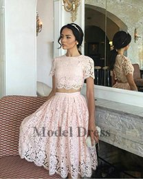 Wholesale spring dress models for girls - Lace Pink Two Pieces Prom Dresses A Line Short Sleeves Knee Length Elegant Girls Homecoming Dresses for Party Formal Evening Gowns