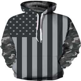Wholesale American Flag Pullover - Mens Hoodie 3D Sweatshirt American Flag Print Men Hoody New Fashion Spring Long Sleeve Loose Pullover Hood Sweatshirts 3d Jacket WY255