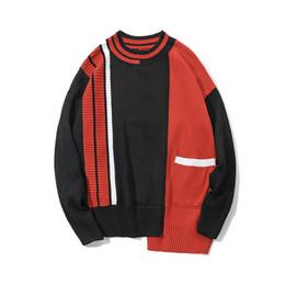 Hip Hop Düzensiz Renk Blok Patchwork Örme Kazak Streetwear 2018 Fashon Casual Erkek Cepler Kazak Kazak supplier color block sweaters nereden renkli blok kazak tedarikçiler