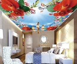 Wholesale Insulation Soundproofing Materials - 3d nature wallpapers sky 3d wallpaper Romantic Rose Sky 3D ceiling fresco material wallpaper rose