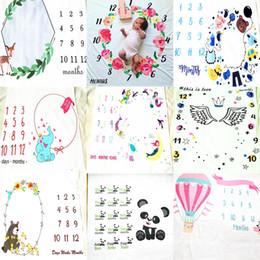 Wholesale Letters Quilt - INS Kids numeral Blankets cotton photo prop Blanket infant Swaddling Letter digital print baby Sleeping Bag 100*100cm 11 styles C3890