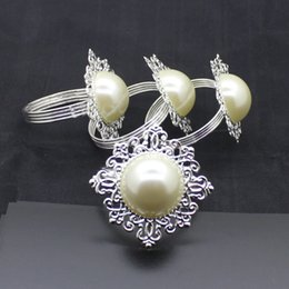 Wholesale Ring Hotels - Hot silver high imitation pearl napkin ring Hotel supplies Restaurant upscale table napkin ring Iron napkin buckle T4H0269