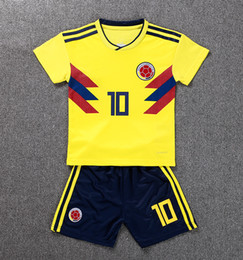 Wholesale Clothing Stops - 2018 World Cup Soccer Jerseys kids kit Colombia home #10 JAMES soccer clothes #9 FALCAO CUADRADO Child football shirt Sales custom uniforms