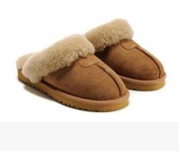 2019 tubo del cordón de los hombres 2018 caliente nuevo clásico australiano WGG 5125 cálido algodón zapatillas hombres y mujeres zapatillas de cuero de vaca Baotou dlippers Snow Boots Votton Dlippers