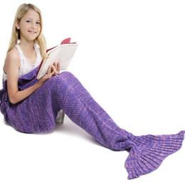 Wholesale Kids Crochet Knit Bags - Children Warm Soft Crochet Handmade Mermaid Tail Blanket Knitting Living Sleeping Bag Camping Bag for Girls Kids