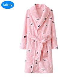 Argentina iAiRAY niño franela albornoz niños navidad pijamas para las niñas invierno cálido ropa de dormir niños bata de baño bata camisón cheap girls flannel dress Suministro