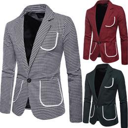 40ffdee18 roupas elegantes para homens Desconto Homens Elegantes Casual Slim Fit  Formal One Button Terno Xadrez Bolso