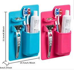 Wholesale Toothbrush Toothpaste Case - Silicone Toothbrush Holder Bathroom Toothbrush Rack Toothpick Sanitary Toiletries Shaver Organizer Toothpaste Storage Case z115