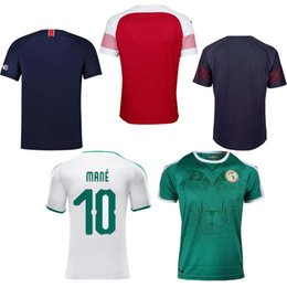 Wholesale white fans - 2018 World Cup ball Thai quality psg Senegal home arsenal away fans Soccer Jersey shirt 18 19 MANE Football custom uniforms vest tracksuit