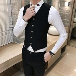 colete elegante homens Desconto Dos homens novos Listrado Terno Coletes Fino Elegante Business Casual Vest Men Tamanho S M L XL 2XL 3XL