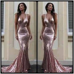 Wholesale pink carpet roses - Sexy Bling Sequined Open Back Prom Dresses 2018 Rose Gold Long Party Prom Gowns Halter Plunging V Neck Pageant Red Carpet Dresses