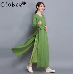 Wholesale Vintage Ethnic Dress - Vestido 2017 Autumn Elegant Vintage Retro Cotton Linen Casual A-Line Dress Solid Color V-Neck Plus Size Ethnic Robe Dresses LH43