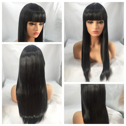 Wholesale Cheap Full Wig Bangs - Cheap Natural Looking Soft Black Long Silky Straight Full Wigs with Bangs Heat Resistant Glueless Synthetic None Lace Wigs for Black Women