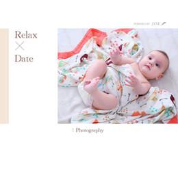 pépinière de bébé en tissu Promotion Dessin animé fruits animaux impression bébé serviette de bain 4 couches 120 * 120 cm bambou coton nouveau-né bébé couverture enfants d'été cool