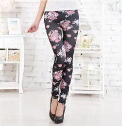 Pantaloni stretti floreali online-Leggings donna in fiore Primavera Autunno Fashion Bottoms Pantaloni aderenti con collant aderenti