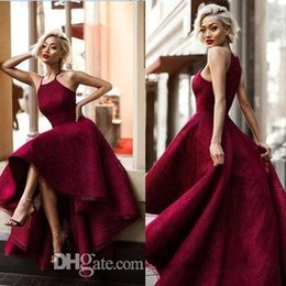 Wholesale Sweet 16 High Low Dresses - 2018 Sexy Burgundy Halter A-Line Prom Dresses High Low Sleeveless Sweet Lace Runway Fashion Ladies Long Formal Vestidos De Festa
