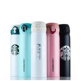 Copos térmicos de vidro on-line-Atacado Top Quality Starbucks Garrafa de Água de Alta Capacidade de Vidro de Isolamento Térmico De Aço Inoxidável Copo 500 ML 5 Estilos Frete Grátis