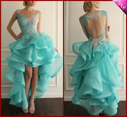 Robe de bal d'eau en Ligne-Modeste perles Aqua dentelle haut Plus bas Robes de bal 2020 Backless Volants organza femmes Pageant Robes manches Robes cocktail Graduation Party