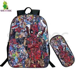 41966ae26c8a Deadpool Collages School Bag 2 Pcs set Backpack for Teenage Boys Girls  Travel Shoulder Bags Kids Superhero Book Bag