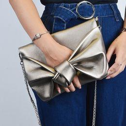 Wholesale Tie Chain Design - Fashion Bow tie Women Envelope clutch bag Luxury design lady evening bags Chain Crossbody Bags for Women's shoulder bag Clutches