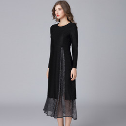 Wholesale two piece knit dresses spring - 2018 two pieces women spring autumn fashion dresses plus size O neck women knitted long casual dresses black