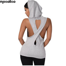 Wholesale Ladies Green Vest Tops Wholesale - moaoliao V collar Sport Yoga Women sleeveless Sport Hoodies Lady Dance Running shirts Exercise Yoga Vest Fitness Crop Tops