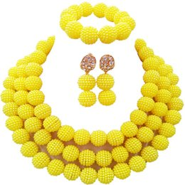 Traditional  Opaque Yellow Imitation Pearl Women Wedding Jewellery Sets 3C-ZZ-18 от