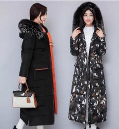 Manteau d'hiver extra-long femme en Ligne-Extra long et épais Slim super col de fourrure bas manteau femmes au-dessus du genou hiver nouveau manteau de veste de costume en coton amincissant chaud