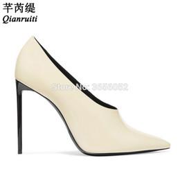 патентный крем Скидка Оптовая черный крем лакированная кожа высокие каблуки сексуальный острым носом офис платье обувь женщина скольжения на шпильках насосы Sapato Feminino