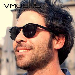 ea57e3d9524a8 VMOERS Retro Rivet gafas de sol redondas Hombres polarizadas UV400 Lens  Shades Lunette Male Black Plastic Vintage gafas de sol para hombres marca
