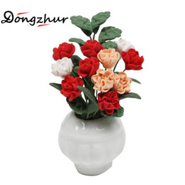 Wholesale Dollhouse Miniature Flowers - Wholesale- Dongzhur Red And White Powder Magnolia Potted Plants 1:12 Doll House Mini Ornaments Dollhouse Miniatures 1:12 Accessories Flower