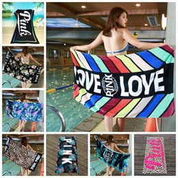 Wholesale Wholesale Cotton Bath Beach Towel - Women Stylish Beach Sun-screen Scarf Simple All-match Shawl Tippet Party Scarf bath towel VS Love Pink Beach Towel BBA155