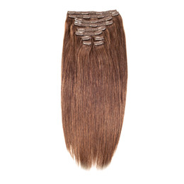 "Wholesale Double Drawn Hair Extensions Brown - Factory Direct Free Double Drawn 14""-26"" 200g Clip in Remy Human Hair Clip on Hair Extensions Dark Brown Blonde Colors+Free Hair Storage"