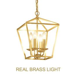 lampe suspension cage oiseau Promotion Diamant style cuivre laiton doré pendaison chaîne pendentif lampe lampe oiseau cage nid dinning salon doré pendentif lampe lumière