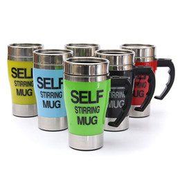 Discount stainless auto mixing tea cup - 350ml Self Stirring Mug Auto Mixing Coffee Tea Mug Lazy Cup Outdoor Office Home Gifts Stainless Steel 6 Colors NNA604 50pcs