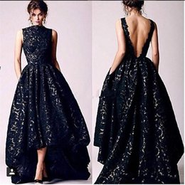Wholesale v neck low cut - 2018 Arabic Black Lace Evening Dresses Vintage High Neck V Cut Backless High Low Prom Dress Formal Occasion Pageant Party Gowns BA4479