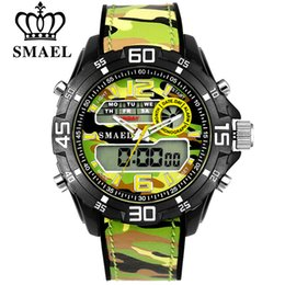 mens military army watch Coupons - SMAEL Brand Men Army Military Watches Men's Quartz Clock Male Fashion Sports Wrist Watch Mens LED Dual Display Wristwatches